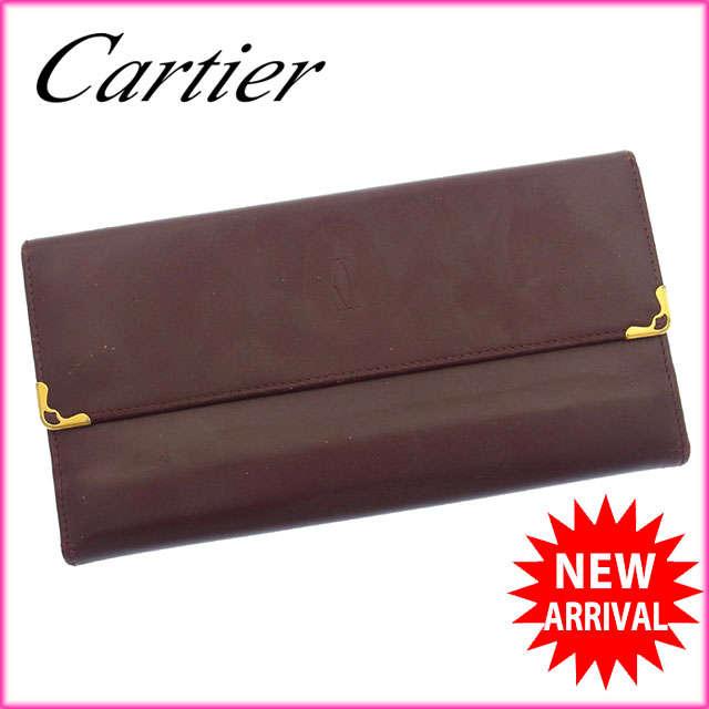 【中古】 【送料無料】 カルティエ Cartier 長財布 がま口 三つ折り メンズ可 角プレート付き マストライン ボルドー×ゴールド レザー (あす楽対応) 人気 C1626