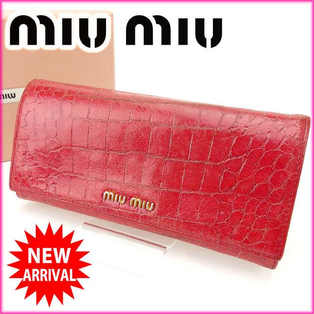 【中古】 【送料無料】 ミュウミュウ miumiu 長財布 クロコダイル型押し ピンク PVC×レザー (あす楽対応)良品 人気 D1021