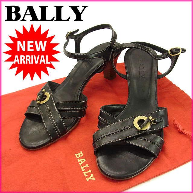 【中古】 【送料無料】 バリー BALLY サンダル ミュール 靴 レディース ♯[36EU 5・1 2US] クロスデザイン ロゴ ブラック×ゴールド レザー F568