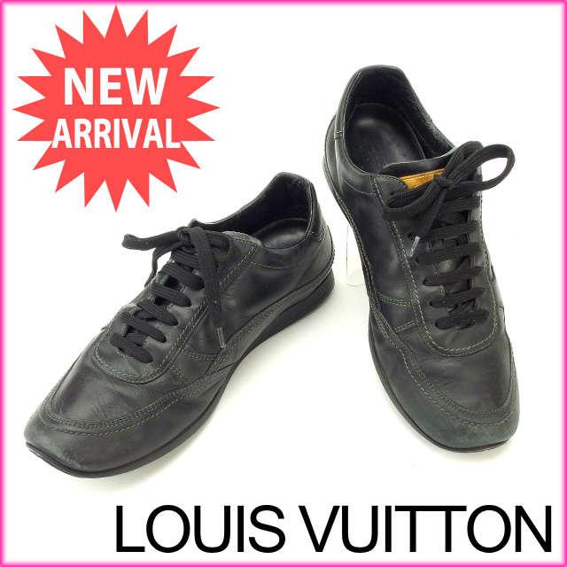 【中古】 【送料無料】 ルイヴィトン Louis Vuitton スニーカー #7 メンズ ブラック レザー (あす楽対応) 人気 F783