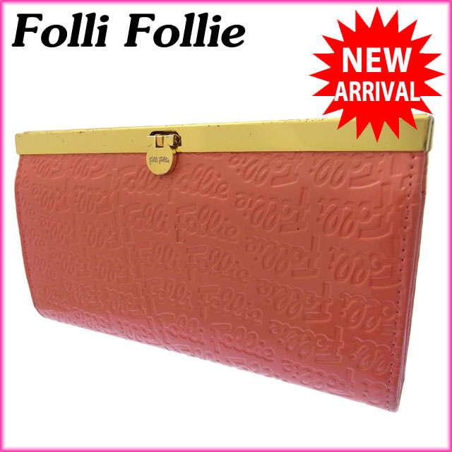 【中古】 【送料無料】 フォリフォリ Folli Follie 長財布 がま口 ファスナー レディース ロゴ ピンク×ゴールド エナメルレザー G374