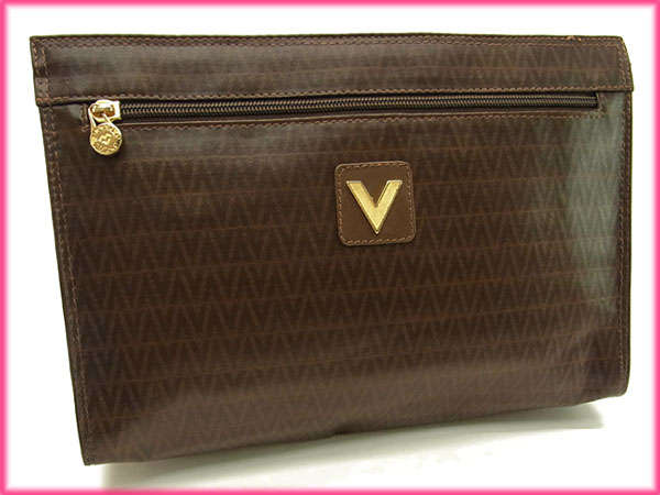 Mario Valentino Clutch Bag Men Friendly V Pattern Brown X Gold Pvc Leather For Good Por G627