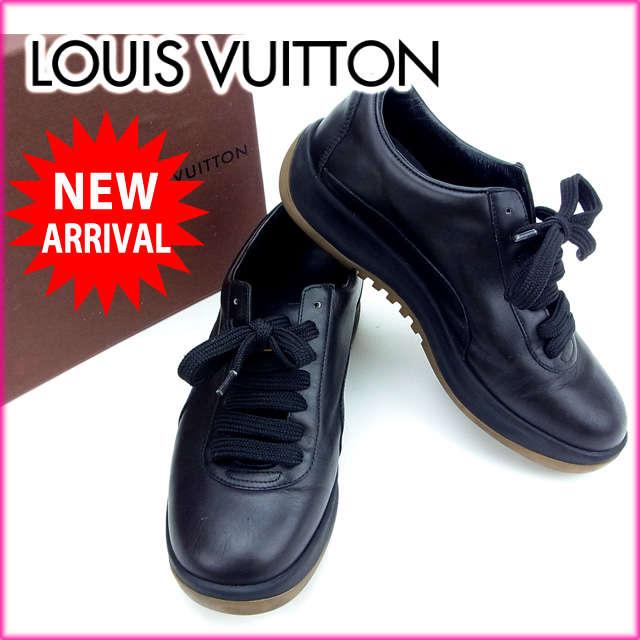 【中古】 【送料無料】 ルイヴィトン Louis Vuitton スニーカー #36 1/2 /レディース ブラック レザー (あす楽対応)(良品・即納) Y302