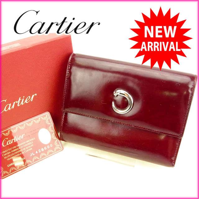 【中古】 【送料無料】 カルティエ Cartier 三つ折り財布 パンテール ボルドー レザー×シルバー素材 (あす楽対応)(激安・即納) Y308