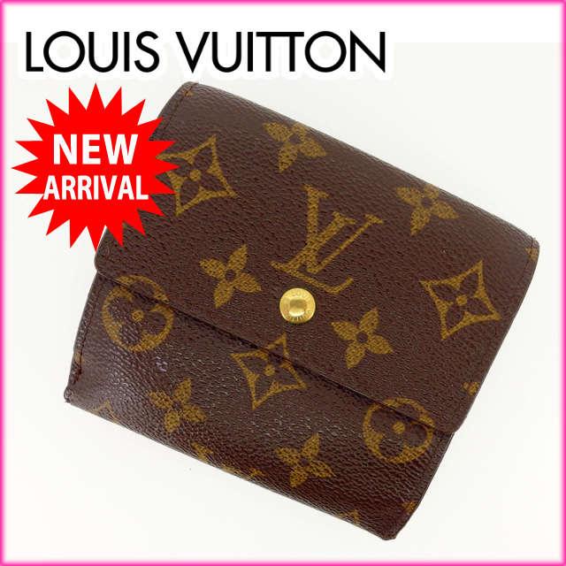 【中古】 【送料無料】 ルイヴィトン Louis Vuitton Wホック財布 三つ折り /メンズ可 /ポルトフォイユエリーズ モノグラム M61652 ブラウン PVC×レザー (あす楽対応)(激安) Y548