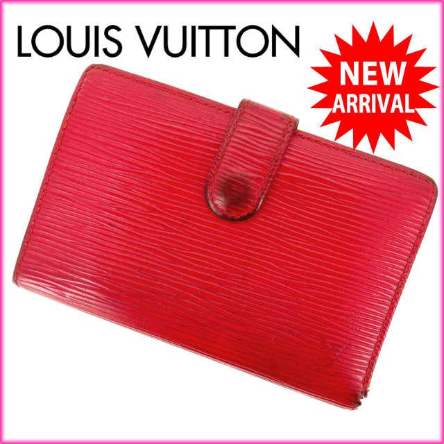 【中古】 【送料無料】 ルイヴィトン Louis Vuitton がま口財布 二つ折り メンズ可 /ポルトモネ ビエヴィエノワ エピ M63247 レッド PVC×レザー (あす楽対応)人気 激安 Y810