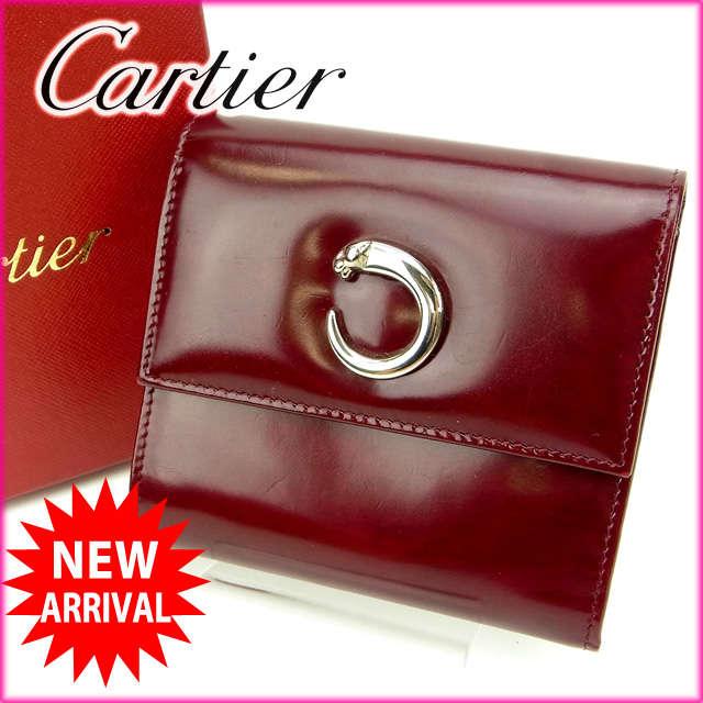 801ee8d2ebb2 【中古】 【送料無料】 カルティエ Cartier 三つ折り財布 パンテール ボルドー レザー (