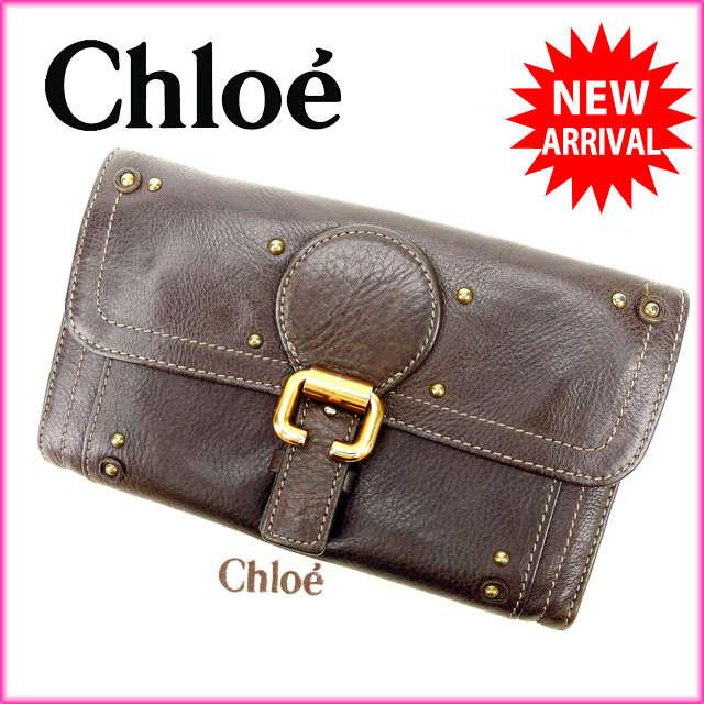 【中古】 【送料無料】 クロエ Chloe 長財布 メンズ可 ブラウン レザー (あす楽対応)人気 激安 Y940