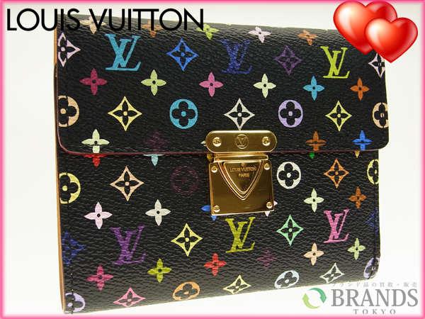 【中古】 【送料無料】 ルイヴィトン 三つ折り財布 マルチカラーブラック M56s