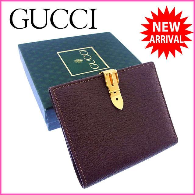 【中古】 【送料無料】 グッチ GUCCI Wホック財布 二つ折り メンズ可 ヴィンテージ ベルトクリップ ブラウン×ゴールド レザー (あす楽対応)美品 人気 P068