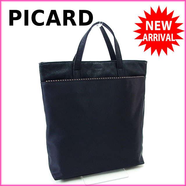【中古】 【送料無料】 ピカード トートバッグ ハンドバッグ ブラック P077s .
