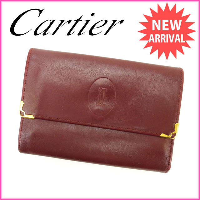 【中古】 【送料無料】 カルティエ Cartier がま口財布 三つ折 メンズ可 マストライン ボルドー レザー (あす楽対応)人気 激安 M1220