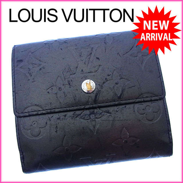【中古】 【送料無料】 ルイヴィトン Louis Vuitton Wホック財布 二つ折り メンズ可 ポルトモネビエカルトクレディ モノグラムマット M65112 ノワール(ブラック) モノグラムマットレザー (あす楽対応) Y2370