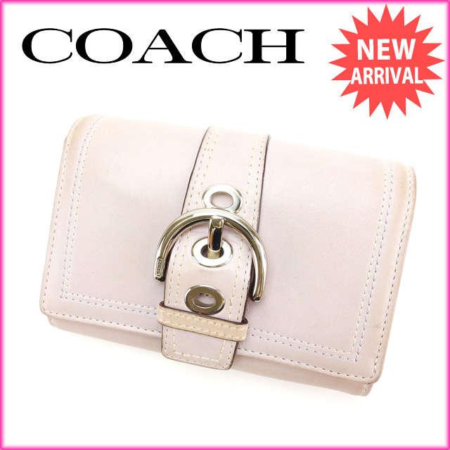 【中古】 【送料無料】 コーチ COACH 二つ折り財布 L字ファスナー レディース ピンク レザー (あす楽対応) Y2411