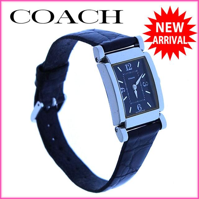 【中古】 【送料無料】 コーチ COACH 腕時計 クォーツ レディース クロコダイル調 スクエアフェイス シルバー×ブラック ステンレススチール×レザー (あす楽対応) 良品 Y2455