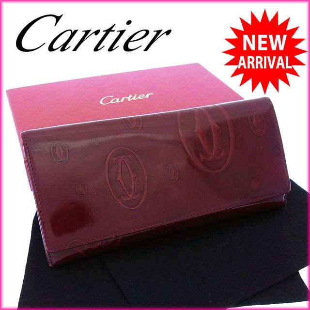 【中古】 【送料無料】 カルティエ Cartier 長財布 ファスナー 二つ折り レディース ハッピーバースデー ボルドー エナメルレザー (あす楽対応) Y2490