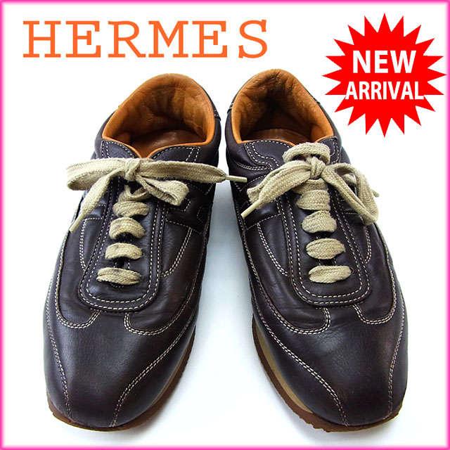 【中古】 【送料無料】 エルメス HERMES スニーカー シューズ 靴 レディース ♯37 Hマーク クイック ブラウン×ベージュ レザー (あす楽対応) Y2537