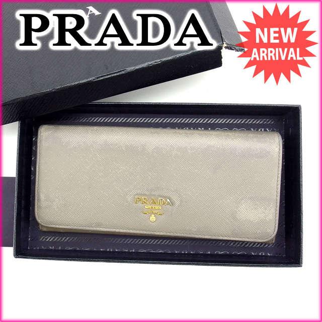【中古】 【送料無料】 プラダ PRADA 長財布 メンズ可 グレー レザー (あす楽対応) E920