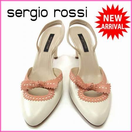 【中古】 【送料無料】 セルジオロッシ Sergio Rossi パンプス シューズ 靴 レディース ♯38 スリングバック リボンモチーフ ホワイト×サーモンピンク レザー (あす楽対応)良品 Y2656