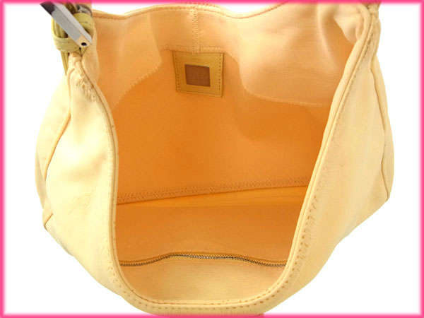 Fendi by FENDI shoulder bag handbag ladies FF plate man MAB get yellow x  silver canvas   leather with cheap sale A809 3ad9220926367
