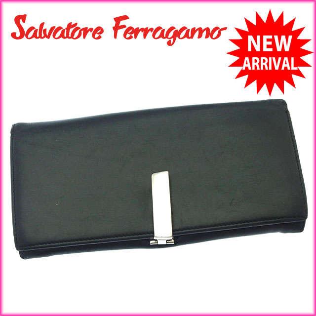 【中古】 【送料無料】 サルヴァトーレフェラガモ Salvatore Ferragamo 長財布 ファスナー 二つ折り メンズ可 シルバークリップ ブラック×シルバー レザー (あす楽対応) A858s