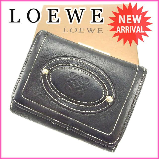 【中古】 【送料無料】 ロエベ LOEWE がま口財布 メンズ可 ブラック レザー (あす楽対応) Y2269