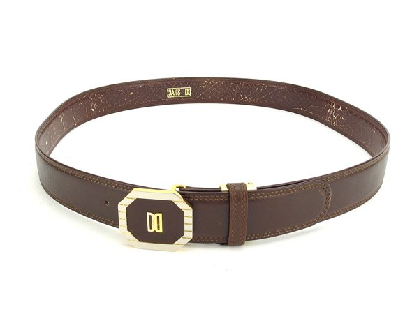 Daks DAKS belt # 60 men's brown / gold leather / gold material with popular C2237