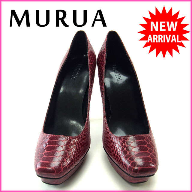 【中古】 【送料無料】 ムルーア MURUA パンプス スクエアトゥ シューズ 靴 レディース ♯235 ハイヒール パイソン柄 レッド×ブラック PVC (あす楽対応)良品 Y1943