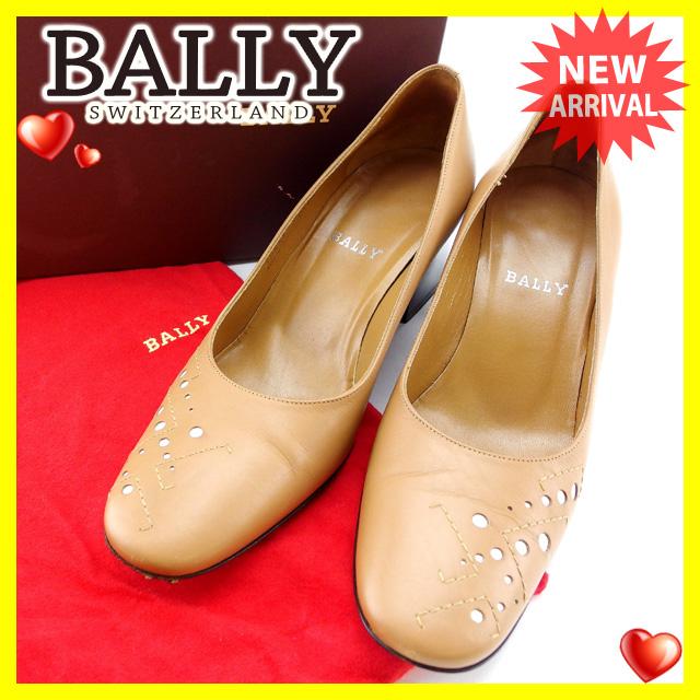 【中古】 【送料無料】 バリー BALLY パンプス シューズ 靴 レディース ♯36ハーフEU 6US ラウンドトゥ ライトブラウン×ブラウン レザー (あす楽対応)人気 Y3686