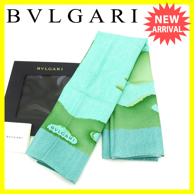 【中古】 【送料無料】 ブルガリ BVLGARI スカーフ 大判サイズ ファッションアイテム メンズ可 ツリーモチーフ柄 ブルー×グリーン系 SILK 100% (あす楽対応)未使用 D1389