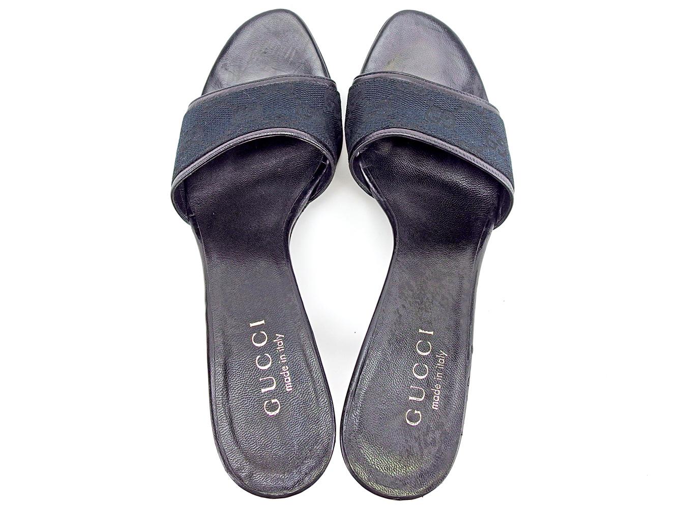 537fc0ac5 ... Gucci GUCCI mule sandals shoes shoes Lady's ♯ 35C pin heel GG canvas  black canvas X ...