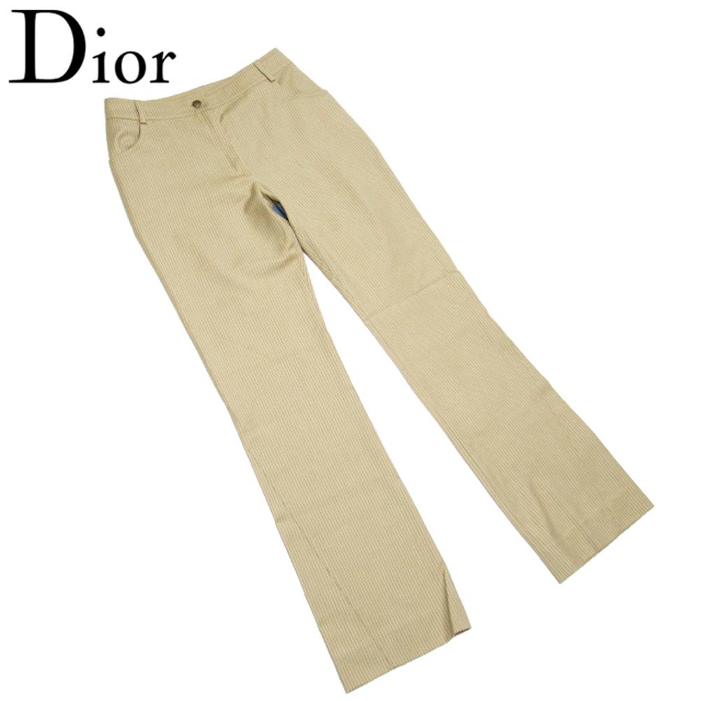送料無料 ブランド品 12時までのご注文即日出荷 限定10%オフ ラスト1点 中古 ディオール パンツ ブーツカット ボトムス ウール レディース お買得 ブラック ブルー 情熱セール L3373 ♯USA4サイズ ストライプ Dior 毛 ベージュ