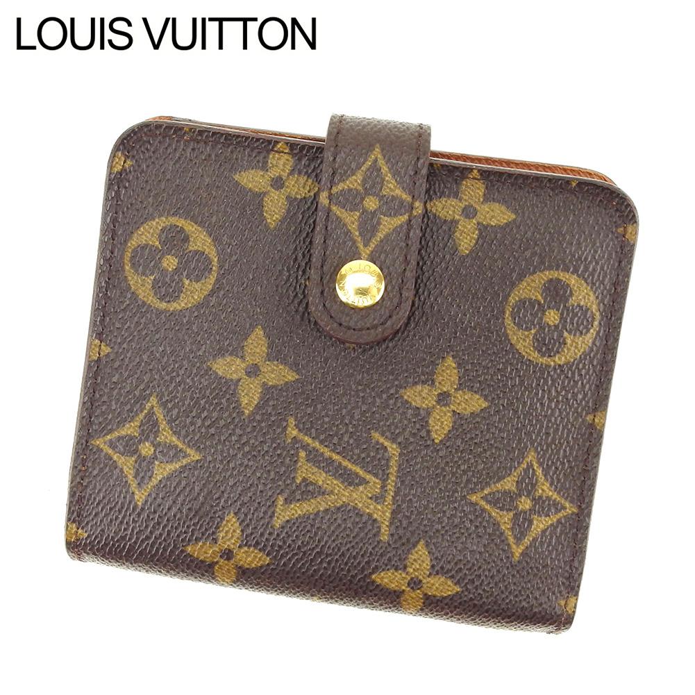 【中古】 ルイ ヴィトン LOUIS VUITTON 二つ折り財布 ラウンドファスナー レディース メンズ コンパクトジップ モノグラム ブラウン PVC×レザ- 人気 セール B1004 .