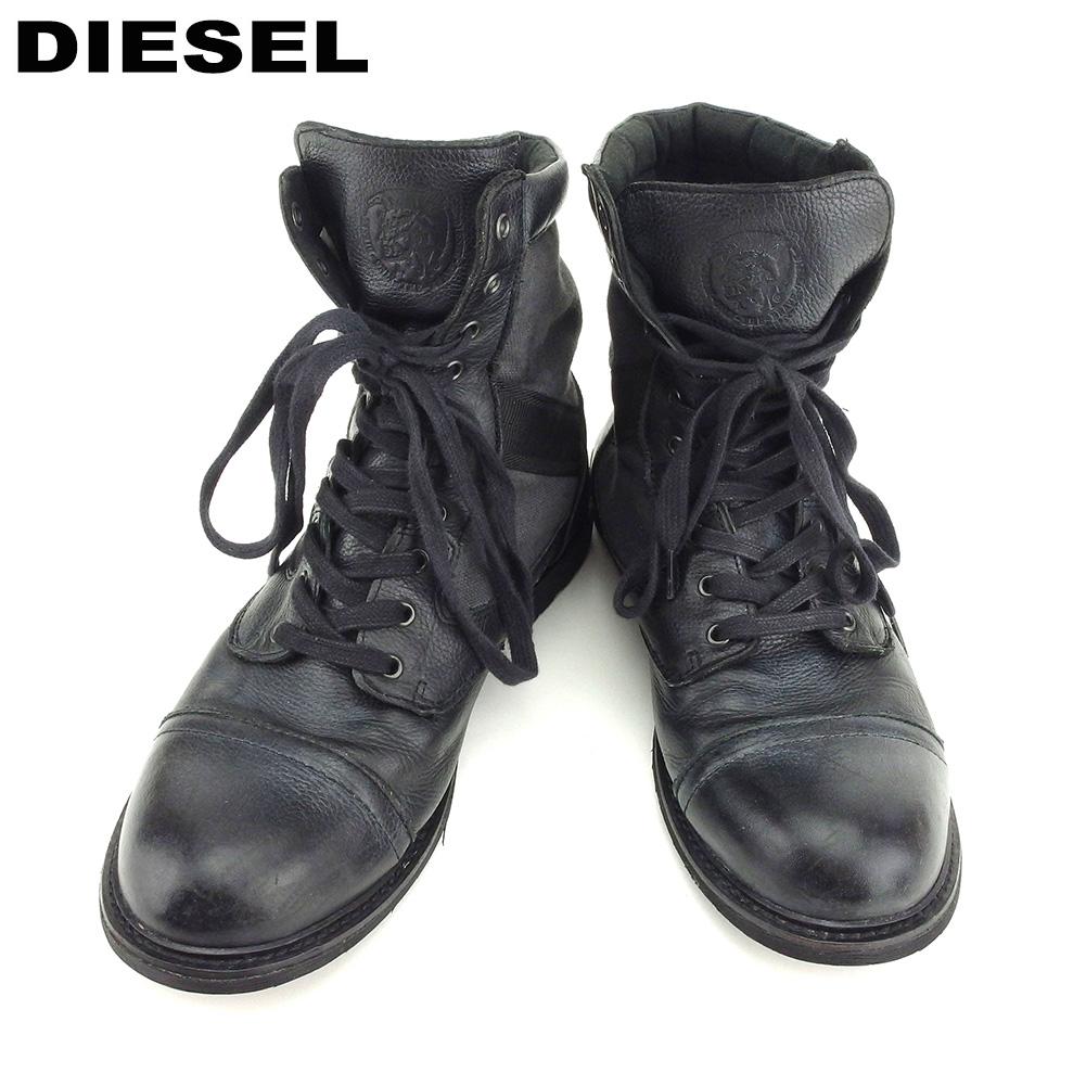 【中古】 ディーゼル DIESEL ブーツ シューズ 靴 編み上げ メンズ #28 ブラック グレー 灰色 キャンバス×レザー 人気 セール B983
