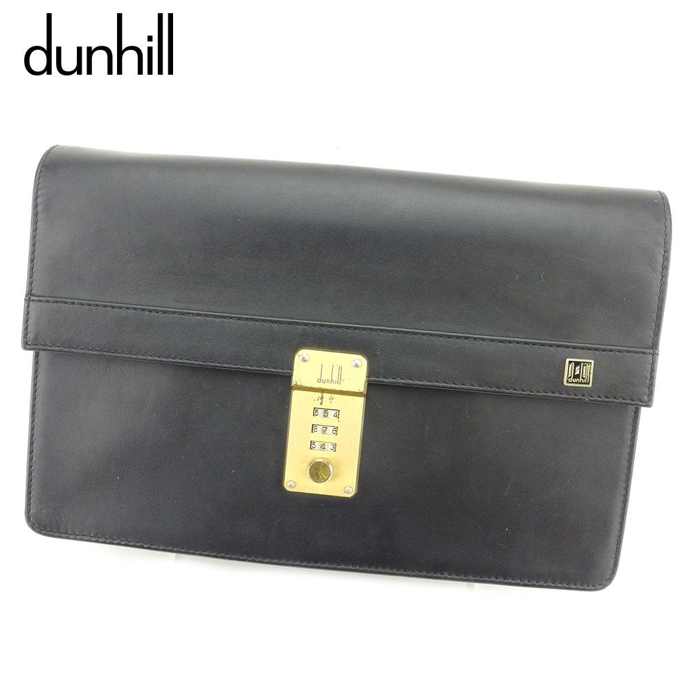 【中古】 ダンヒル dunhill クラッチバッグ セカンドバッグ レディース メンズ  ブラック レザー 人気 セール B986 .