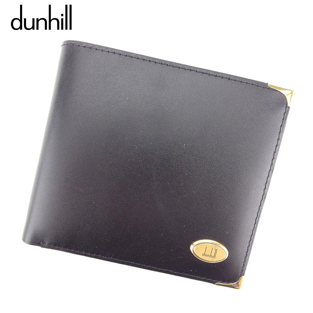 【中古】 ダンヒル dunhill 二つ折り 財布 レディース ロゴプレート ブラック レザー ヴィンテージ 廃盤 C3472 .