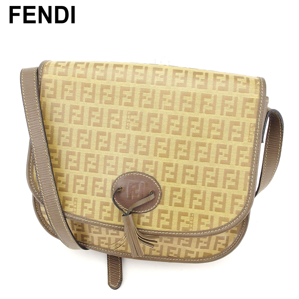 It is ショルダーレディースズッキーノベージュ PVC X leather popularity quality goods C3482 at Fendi  FENDI shoulder bag bias f43df1f0fc088