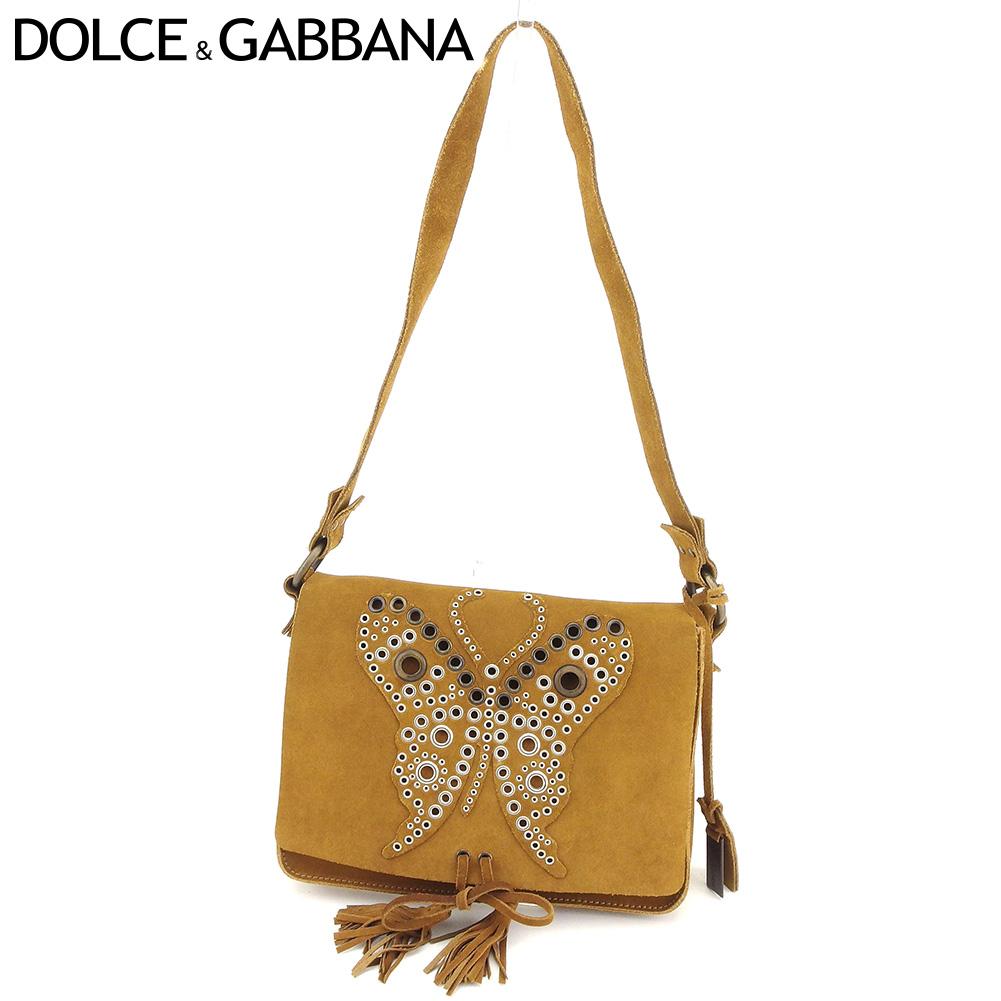 1d4bb3f1 Dolce & Gabbana DOLCE&GABBANA shoulder bag one shoulder Lady's butterfly  motif light brown suede popularity sale C3483