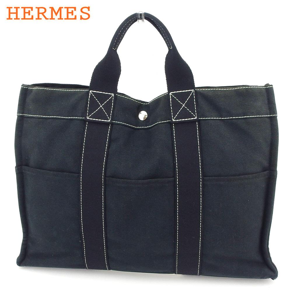 【中古】 エルメス HERMES トートバッグ ハンドバッグ レディース メンズ トートMM ドーヴィル ブラック 綿100% 人気 セール C3512 .