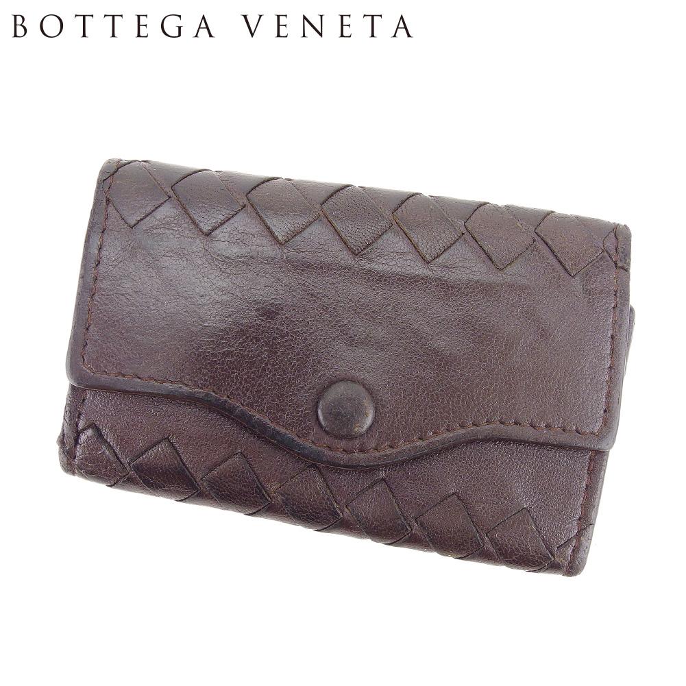 【中古】 ボッテガ ヴェネタ BOTTEGA VENETA キーケース レディース メンズ イントレチャート ブラウン レザー 人気 セール C3514 .