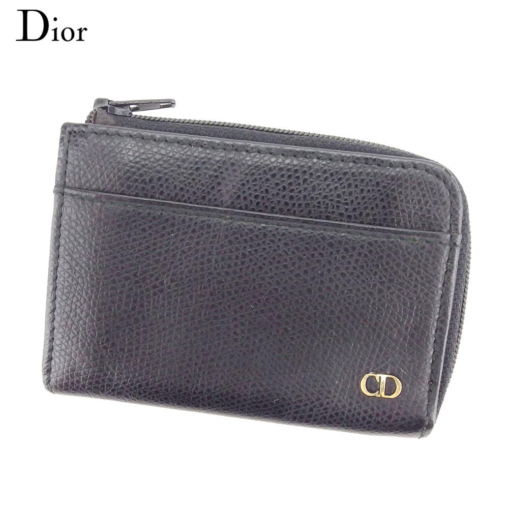 【中古】 ディオール Dior コインケース 小銭入れ レディース メンズ  ブラック レザー ヴィンテージ 人気 C3515 .