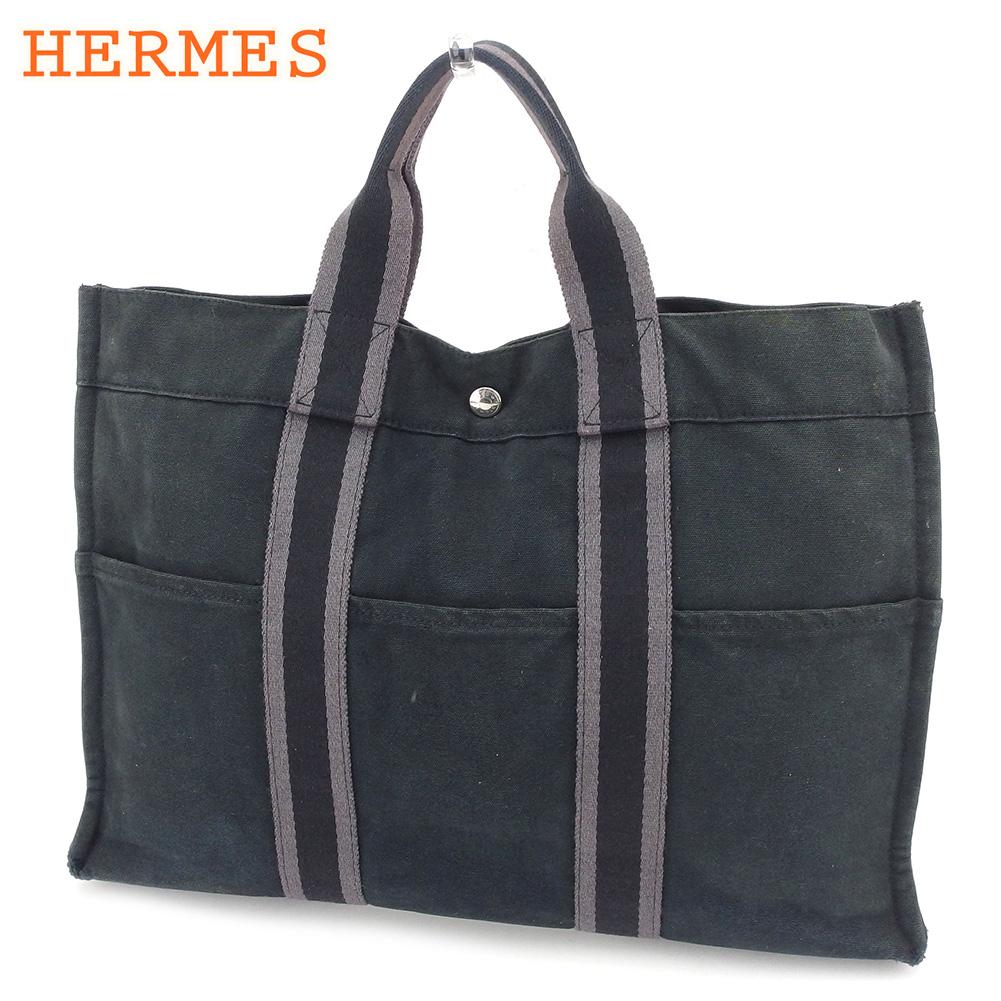 【中古】 エルメス HERMES トートバッグ ハンドバッグ レディース メンズ フールトゥトートMM フールトゥ ブラック グレー 灰色 綿100% 人気 セール C3527 .