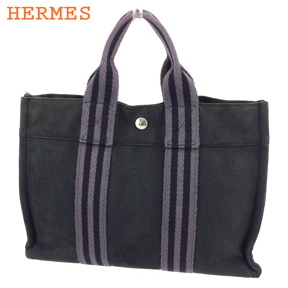 【中古】 エルメス HERMES トートバッグ ハンドバッグ レディース メンズ フールトゥトートPM フールトゥ ブラック グレー 灰色 綿100% 人気 セール C3534 .