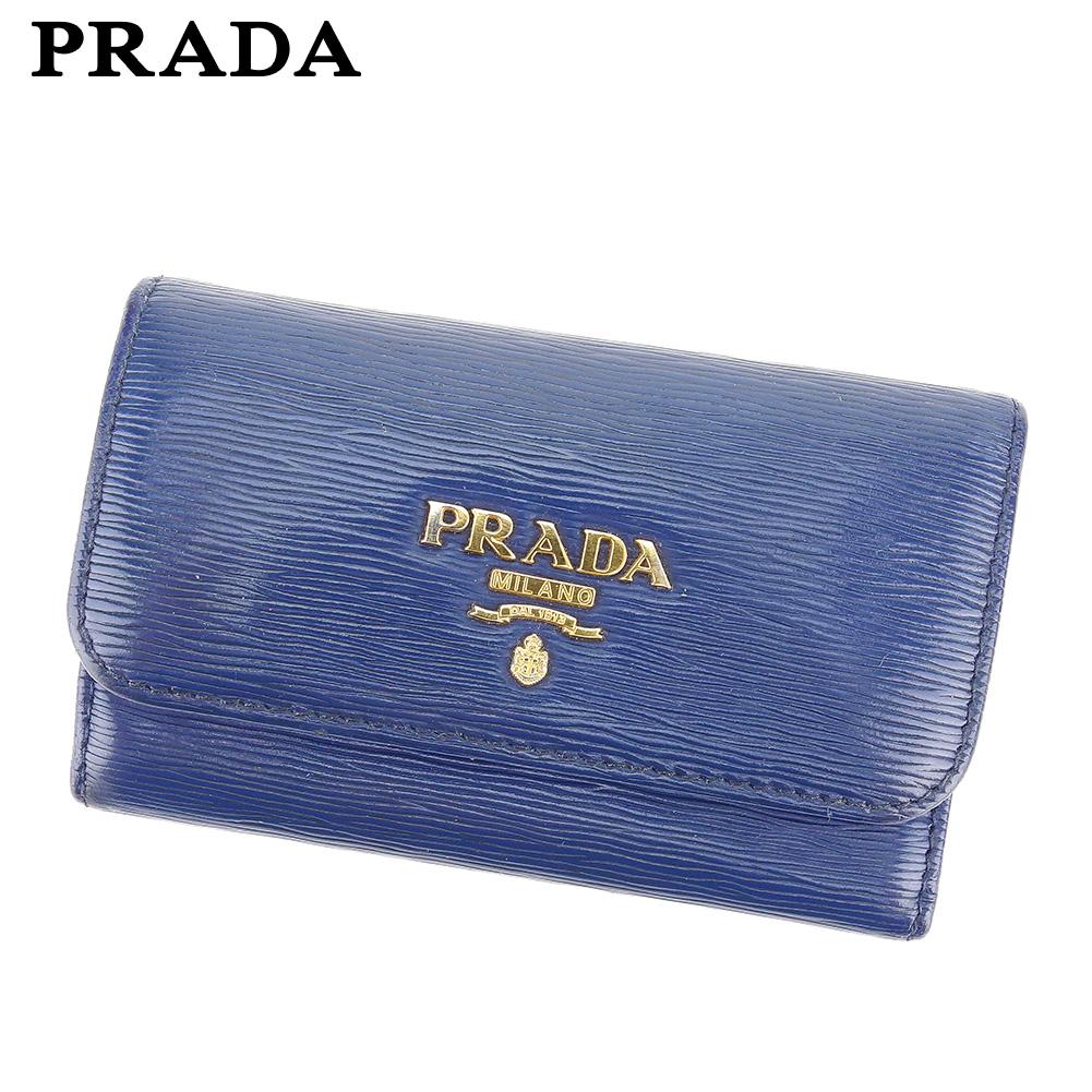 【中古】 プラダ PRADA キーケース 6連キーケース レディース メンズ  ネイビー レザー 人気 良品 C3535