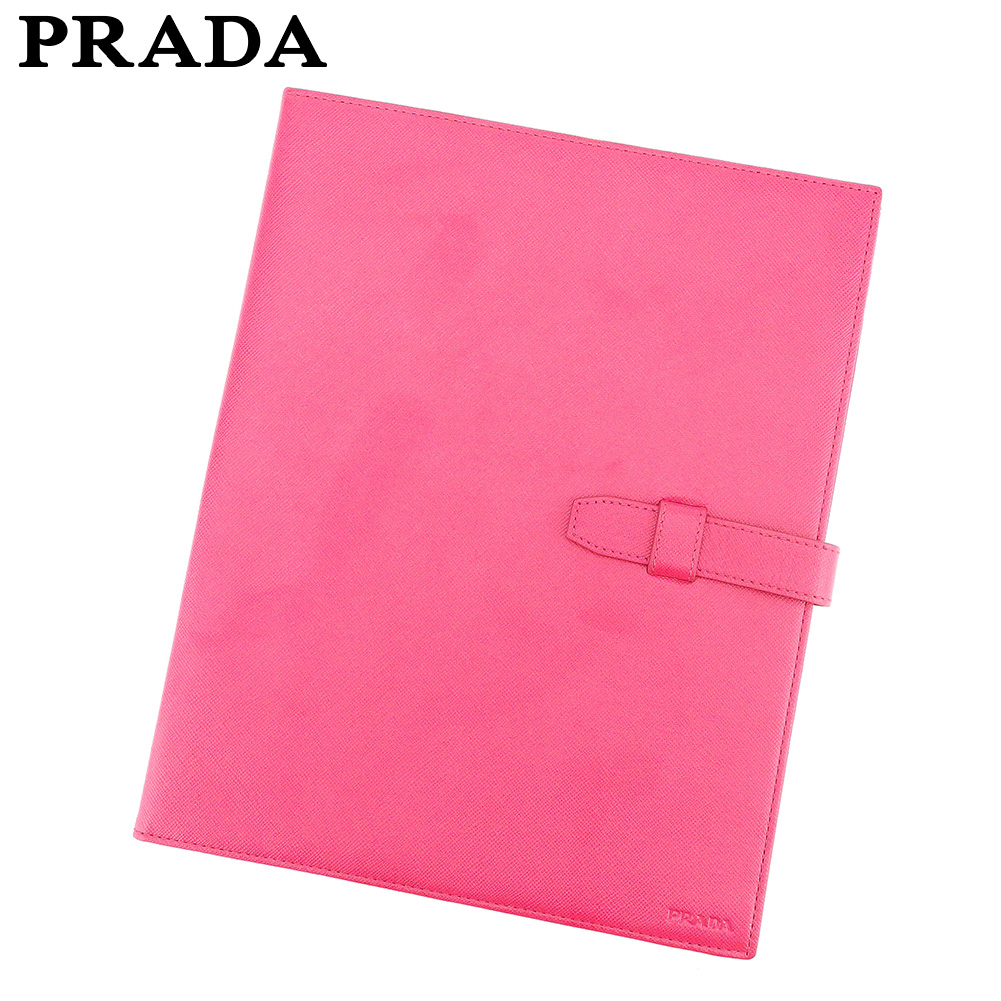 【中古】 プラダ PRADA ステーショナリーケース 書類ケース レディース  ピンク レザー 人気 良品 E1337 .