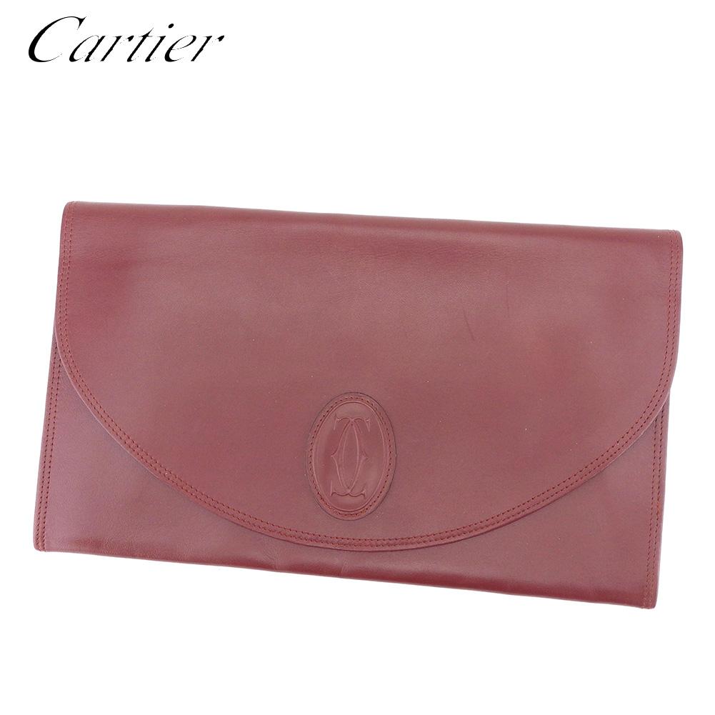 【中古】 カルティエ Cartier クラッチバッグ セカンドバッグ レディース メンズ マストライン ボルドー レザー 人気 良品 E1338 .