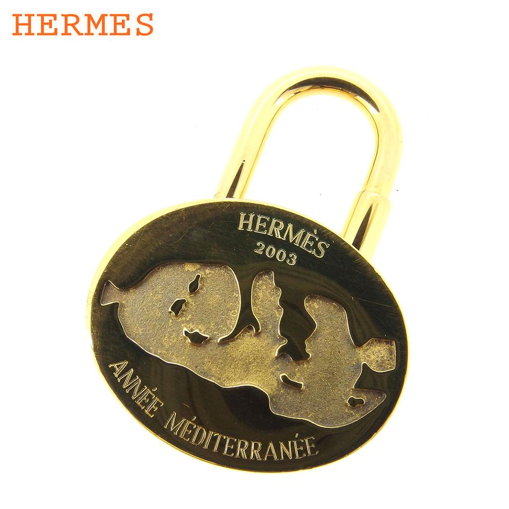 【中古】 エルメス HERMES カデナ キーリング キーホルダー レディース メンズ 地中海 2003 ゴールド 人気 良品 E1341 .