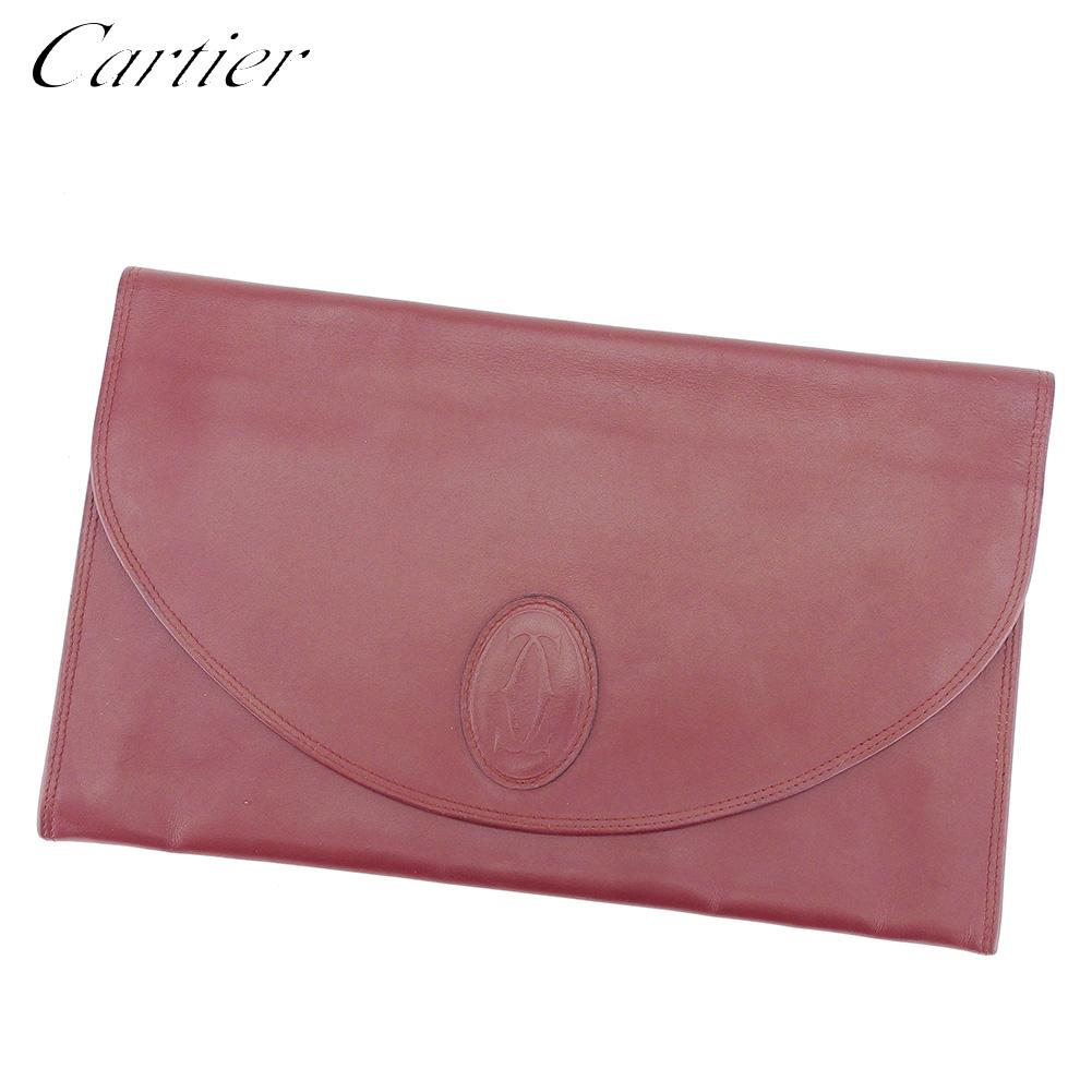 【中古】 カルティエ Cartier クラッチバッグ セカンドバッグ レディース メンズ マストライン ボルドー レザー 人気 良品 E1345 .