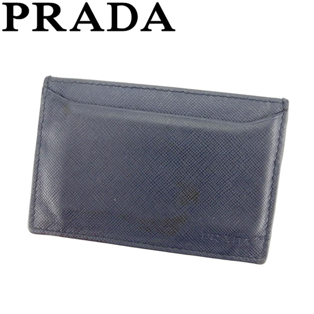 【中古】 プラダ PRADA カードケース 名刺入れ パスケース メンズ ネイビー サフィアーノレザー F1369