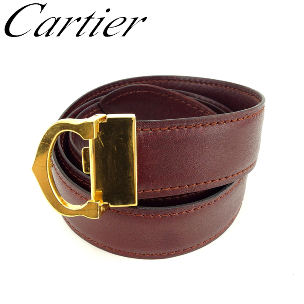 aa08354495e07 Cartier Cartier belt top type buckle Lady's men mast line Bordeaux gold  leather X gold metal fittings popularity sale F1371.